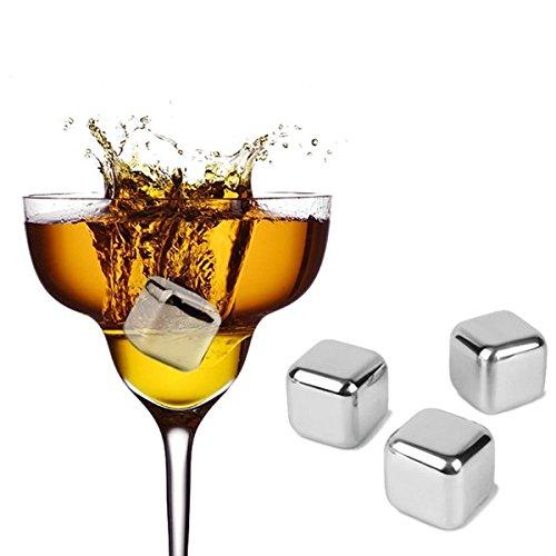 Skymore Whisky Glaçons en Acier Inoxydable, Chilling Glaçon Réutilisable, Pierre Froid, Ice Cube pour Vin Boisson Bière Livré, 1 Pcs
