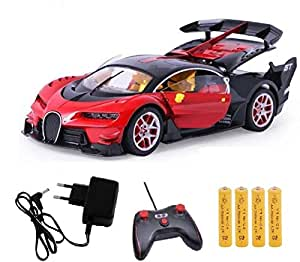 KIDSZONE Original Bugatti Style Remote Control Rechargeable Car with Opening Doors and Boot Space(Assorted, BG3)(Blue,red)