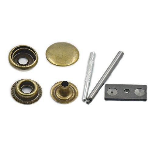100Sets 12mm 1/5,1cm genäht Schnalle Schnappverschluss aus Metall Leder Craft Rapid Stift Button Setzwerkzeug Nähen, metall, bronze, 12mm 1/2