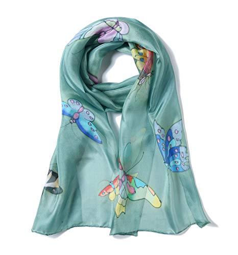 Invisible World Foulard Seta da Donna 100% Lunga Dipinta Mano con Farfalla per Collo Testa o Capelli Verde Celadon