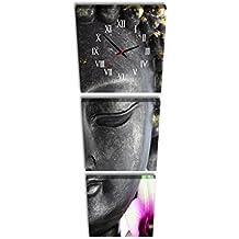 Reloj de pared cuadrado Mudo Negro Indie Mascarilla Soledad Meditación Rosa y flor blanca Vertical