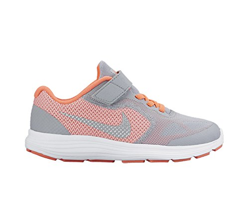 Nike Revolution 3 (Psv), Chaussures de Sport Fille Amarillo / Plateado / Gris (Brght Mango / Mtllc Slvr-Wlf Gry)