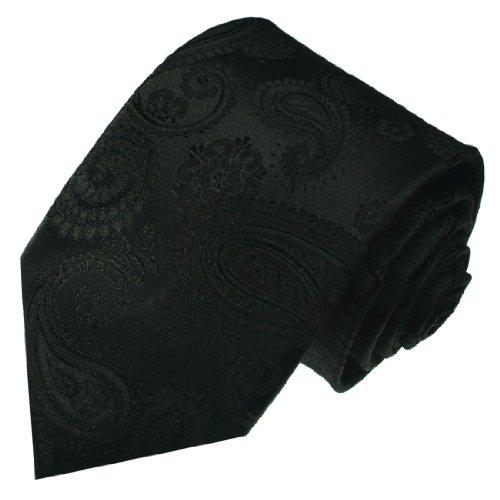 LORENZO CANA - Designer Luxus Krawatte aus 100% Seide - Eleganter Schlips Schwarz Paisley - 84292