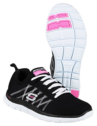 Skechers Flex Appeal Something Fun, Chaussures de sports en salle femme Black/White