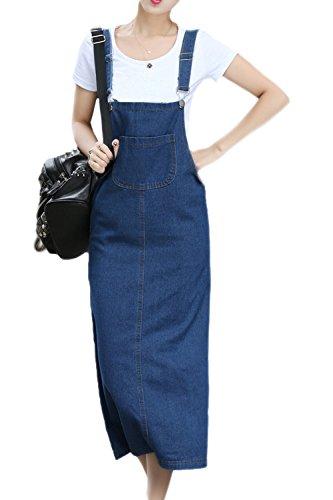 Vemubapis le donne si piazza al collo di turno in jeans senza maniche suspender gonna lunga giubbotto vestito blue s