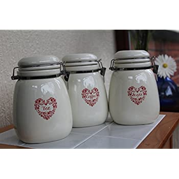 Set of 3 vintage cream red heart tea coffee sugar jars ceramic kitchen storage jars new