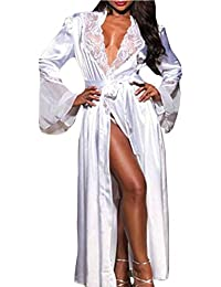 YUYOUG Femmes Sexy Robe Lingerie Longue en Dentelle Robe Floral Festonné V  Neck Vêtements de Nuit 0862a52c336
