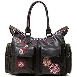 Desigual Bag Chandy London Women, Sacs portés épaule femme, Noir (Negro), 15.5x25.5x32 cm (B x H T)