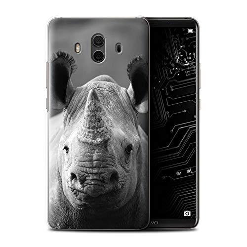 Hülle Für Huawei Mate 10 Zoo-Tiere Nashorn Design Transparent Ultra Dünn Klar Hart Schutz Handyhülle Case