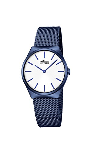 Lotus Women's Quartz Watch with Silver Dial Analogue Display and Blue Stainless Steel Plated Bracelet 18290/1