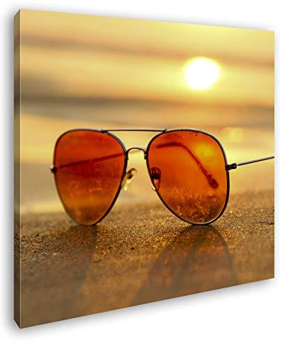 deyoli Blick durch die Sonnenbrille Format: 70x70 als Leinwand, Motiv fertig gerahmt auf Echtholzrahmen, Hochwertiger Digitaldruck mit Rahmen, Kein Poster oder Plakat
