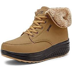 Minetom Mujer Invierno Impermeable Botas Suave Caliente Forro De Felpa Botines Cuña Zapatos Con Suela Antideslizante Calzado Deportivo Amarillo EU 38