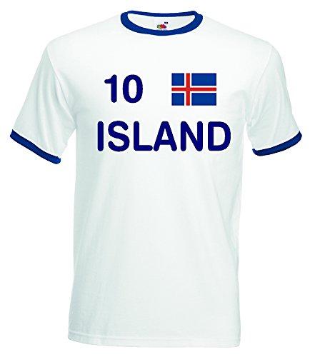 world-of-shirt Herren Retro T-Shirt Island EM 2016 Trikot Nr.10 Weiss