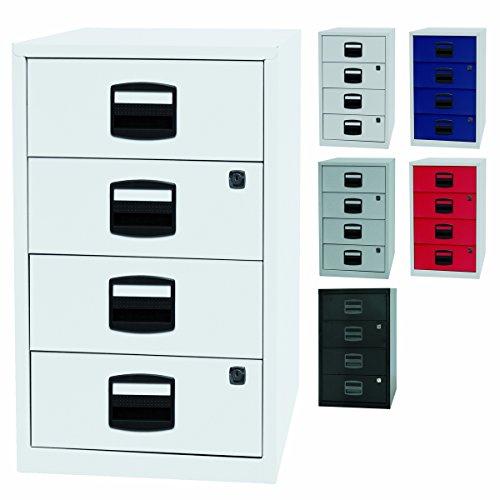 PFA Beistellschrank | Büro Schubladenschrank mit 4 Schubladen aus Metall für CD\'s geeignet - abschließbar in weiß