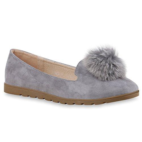 Damen Slipper Loafers Schleifen Glitzer Flats Profilsohle Schuhe Grau Bömmel 381067fcff