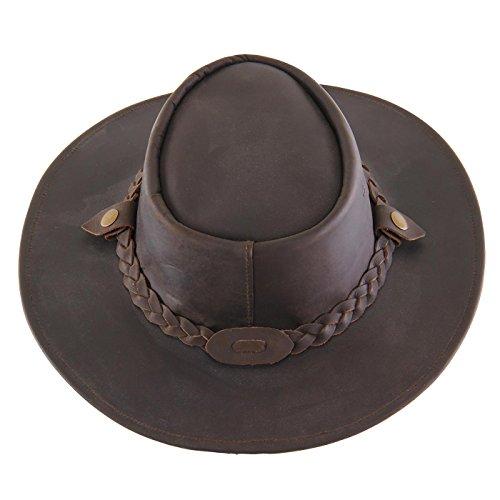 AUSTRALIA Herren Western Cowboy Leder Hut Classic Brown Rest - Leder Größe M