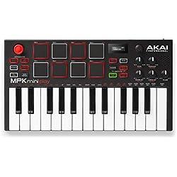 AKAI Professional Mpk Mini Play - Clavier Maître MIDI/USB avec Haut-Parleurs Intégrés, Pads MPC, Effets Intégrés, 128 Instruments, 10 Sons de Batterie et Suite de Logiciels Incluse, Noir