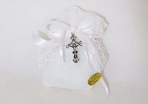 Zelda bomboniere bomboniera sacchetto bianco con ciondolo croce (zelda2094)