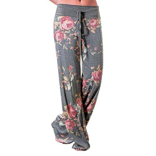 Strickjacke & Wide-leg-pants (Bekleidung Longra Damen Wide Leg Casual Blumendrucke Drawstring Langehose Elegante Jogginghose Leggings (M/Waist:71~74cm/27.9