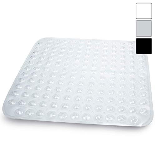 Sarenius Duschmatte 53 cm x 54 cm - Antirutschmatte für die Duschwanne mit extra starkem Halt - BPA-frei - Hochwertige Duscheinlage aus geruchsfreiem PVC. (transparent-weiß)