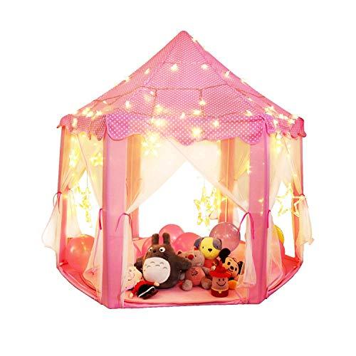 Juego de Castillo princesa interior tiendas, a los niños Shayson al aire libre Portable gran Playhouse con 40 pequeñas luces de estrellas, perfecto interior juguetes regalos para niños de infantil