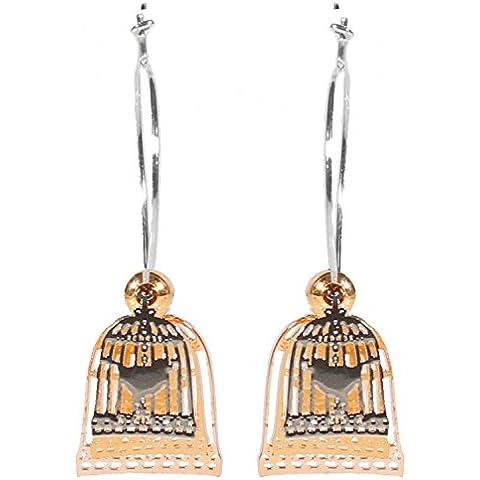 Bijoux pour tous-Orecchini a cerchio in metallo argentato, dorato, gabbia per uccelli, motivo: filigrana