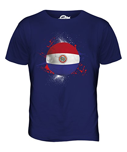 CandyMix Paraguay Calcio T-Shirt da Uomo Maglietta Blu Navy