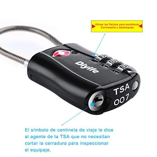 Candados de Equipaje,  [VersióN Nueva] Diyife 2 X TSA Candado de Seguridad de 3 DíGitos,  Candados de CombinacióN para Maletas Viaje Mochila Equipaje(Negro)