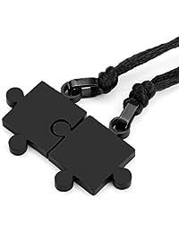 Collar MENDINO para parejas, diseño de puzle, de acero inoxidable, negro, 2 unidades