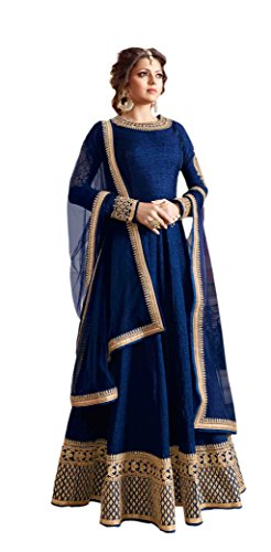 Orange Fab Women\'s Royal Blue Bangalore Silk Semi stitched Anarkali Dress Material