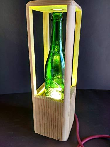 Lámpara de mesa led de madera reciclada de palet con tulipa de vidrio verde hecho a mano