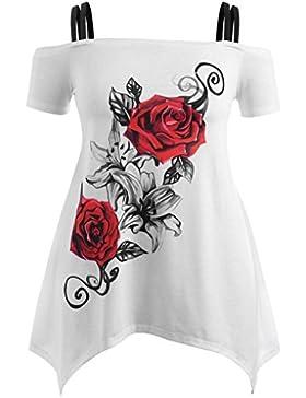 Lenfesh Las Mujeres Camiseta Larga - Elegante Mini Vestido de Floral Rose Camiseta Blanco de Sin Mangas Verano...