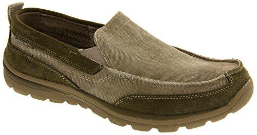Skechers supérieure Melvin toile et suède Moccasin glissement sur la chaussure casual Hommes Taupe