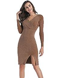 2f736ea5d83 Damen Pullover Strickkleid Strickpullover Elegant V-Ausschnitt Basic  Langarm-Kleid Wickelkleid V-Ausschnitt