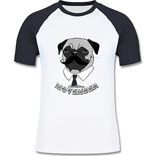 Statement Shirts - Movember Mops - zweifarbiges Baseballshirt für Männer Weiß/Navy Blau