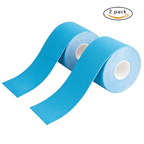 Vicloon Vendaje Elástico de Calidad para el Deporte,2 Rollos Vendaje Neuromuscular 5CM X 5M para Reducir Dolores y Proteger Rodillas/Muñecas/Tobillos/Cintura/Cuello (Azul)
