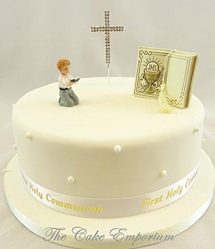 Décoration de gâteau première communion garçon – Bible – Croix Strass – Ruban argenté Décoration pour gâteau