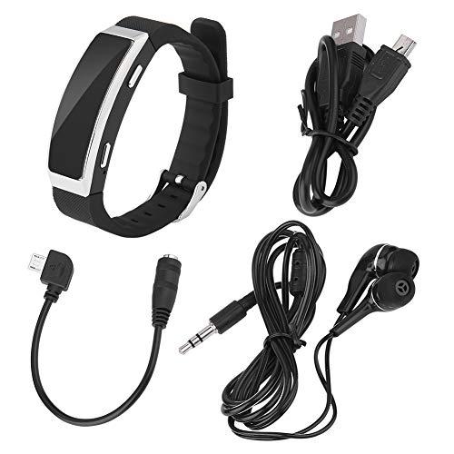Diktiergerät-Armband mit 1 Paar Kopfhörern, 8 GB, 192 Kbit/s Digitales Diktiergerät-Armband mit Zwei Betriebsarten der Stromversorgung, intelligentes Armband, Lange Standby-Zeit