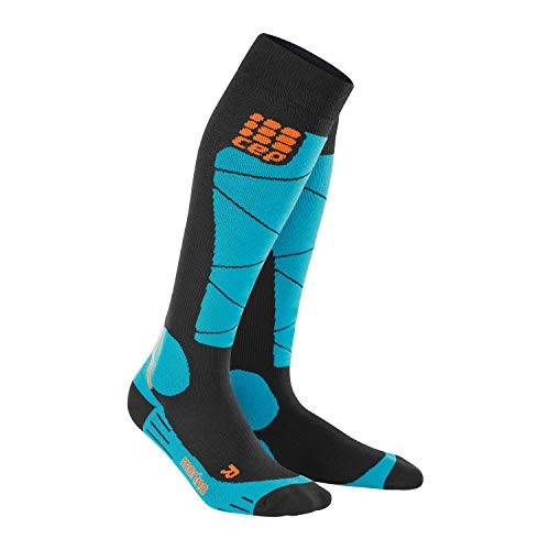CEP – SKI Merino Socks, Skisocken in schwarz/blau, Größe III für Herren, Kompressionsstrümpfe Made by medi