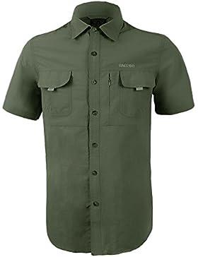 IKRR Uomo Camicia a Maniche Corte Classica Quick Dry Camicie