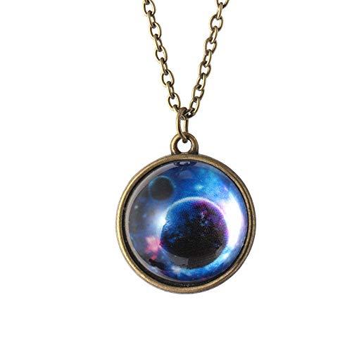TAOtTAO Necklace Pendant Sonnensystem Halskette Anhänger Planet Halskette Galaxy Double Sided Glaskuppel (C)