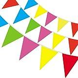 Guirnalda de banderines 38 m 100 piezas de nylón banderolas decorativas gallardetes buntings banderas multicolores para cumpleaños festival fiesta al aire libre o interior, de ZITFRI