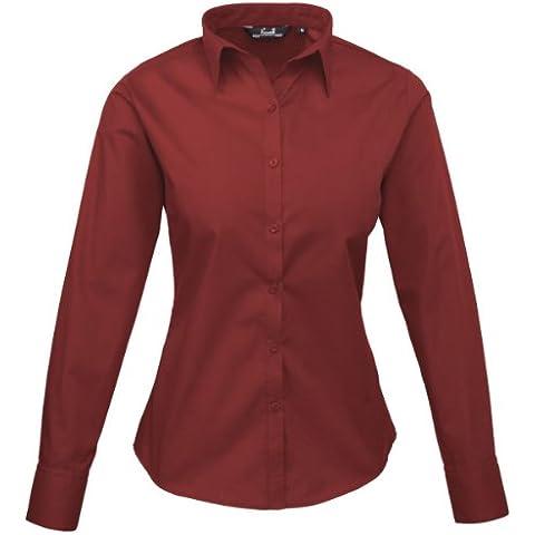 Premier Workwear PR300Donna Business Hospitality Barwear manica lunga popeline camicia bordeaux 24