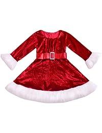 Beikoard Kleinkind Kinder Baby Weihnachten Red Princess Dress Flauschige Kleidung Outfit Flanellkleid Babykleidung Weihnachtskleider