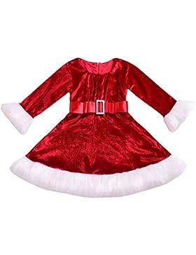 Babykleider,Sannysis Baby Mädchen Festlich Kleid Kleinkind Weihnachtskleid Rot Flanellkleid Prinzessin Kleid Tops...