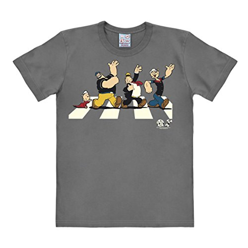 Logoshirt Comics - Popeye The Sailor - Swee'Pea - Brutus - Wimpy - Popeye - Abbey Road - Short Sleeve T-Shirt for Men - Grey - Licensed Original Design