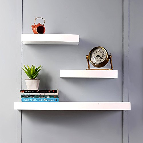 Driftingwood Wall Shelf Rack Round Floating Wall Shalves Set Of 3 - White