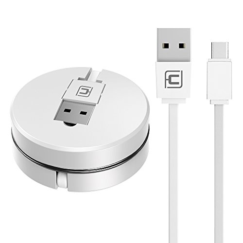 Preisvergleich Produktbild Einziehbares USB C Kabel, CAFELE Retractable Type-c Sync & Charge Macaron aufrollbar Ladeabel für Type C Geräte MacBook Pro 2016, Samsung Galaxy S8, Honor 9/8,Gopro Hero 5-3.3ft(Weiß)
