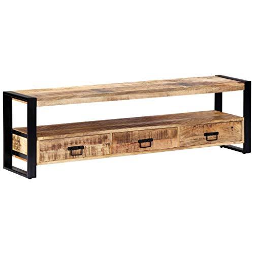 vidaXL Mangoholz Massiv TV Schrank mit 3 Schubladen 1 Fach TV Möbel Tisch Board Kommode Lowboard Fernsehschrank Fernsehtisch 150x30x45cm Stahl
