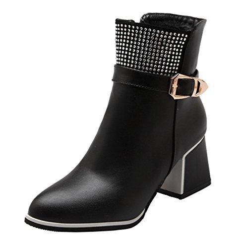 YE Damen Spitze Glitzer Stiefeletten mit Schnallen Blockabsatz Strass Reißverschluss Short Ankle Boos Herbst Winter Schuhe Schwarz